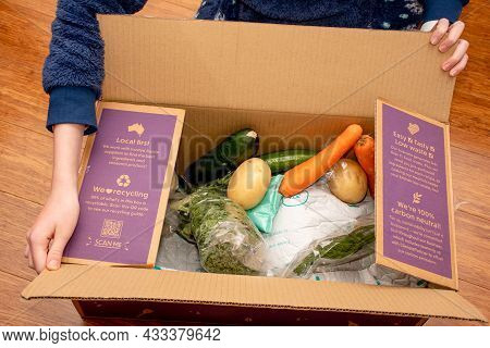 Sydney, Australia 2021-08-04 Open Dinnery Cardbord Box With Meal Kits. Australian Subscription Deliv