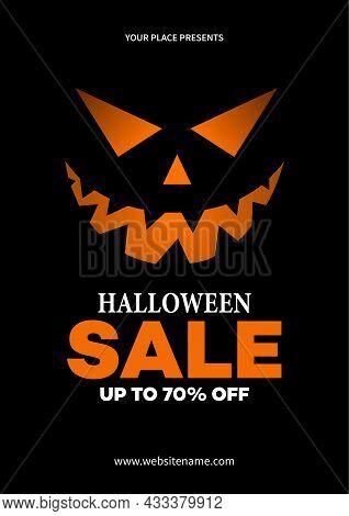 Halloween Discount Sale Poster Flyer Social Media Post Template Design