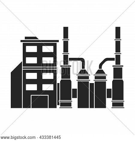 Factory Building Vector Icon.black Vector Icon Isolated On White Background Factory Building.