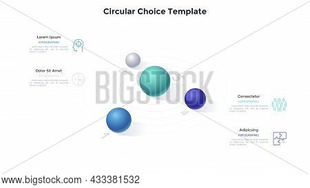 Four Numbered Spheres Or Balls Placed On Circular Diagram. Concept Of 4 Features Of Business Project