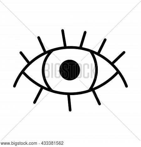 Eye Icon. Simple Line Style For Web, Postcard, Poster, Design. Doodle Human Eye Open Isolated On Whi