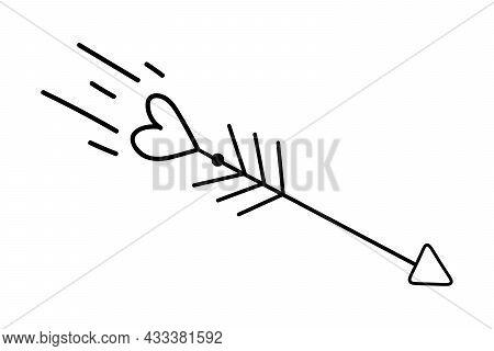 Doodle Arrows Of Cupid. Flat Arrow, Icon, Logo Vector Illustration. Heart Arrow. Valentines Day Deco