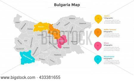 Bulgaria Map Divided Into Federal States. Territory Of Country With Regional Borders. Bulgarian Admi