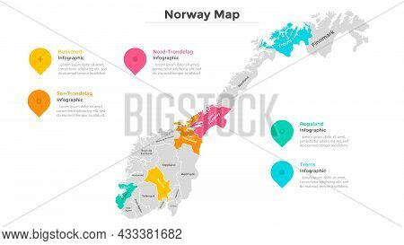 Norway Map Divided Into Federal States. Territory Of Country With Regional Borders. Norwegian Admini