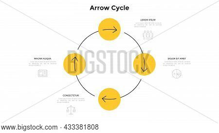 Cyclic Diagram With 4 Circular Elements And Arrows. Concept Of Four Steps Of Production Cycle. Moder