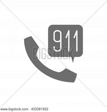 Emergency Call To Rescue Service Grey Icon.