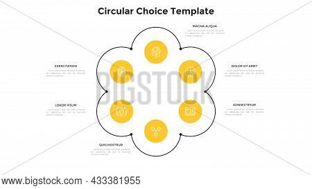 Flower Chart With Six Circular Elements. Concept Of 6 Options Of Business Project Development Strate