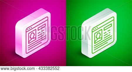 Isometric Line Resume Icon Isolated On Pink And Green Background. Cv Application. Searching Professi