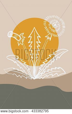 Dandelion, Abstract, Poster, Minimal Dd Ww Herb