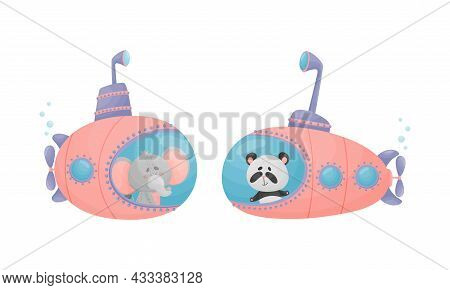 Funny Animal Character Swimming Underwater On Submarine Vector Set