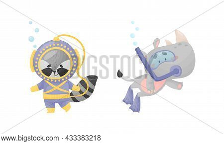 Funny Animal Character Snorkeling And Diving Underwater In Suit And Goggles Vector Set