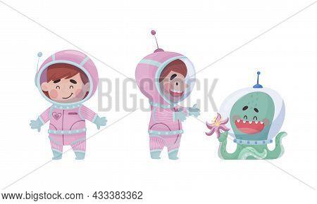 Little Girl Astronaut Wearing Spacesuit Exploring The Moon Talking To Octopus Vector Set