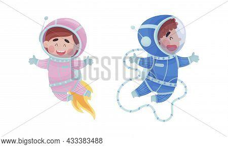 Little Kid Astronaut Wearing Spacesuit Exploring The Moon Vector Set