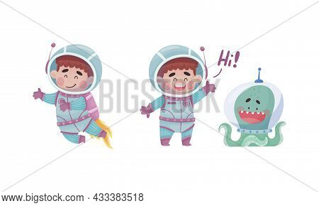 Little Boy Astronaut Wearing Spacesuit Greeting With Octopus And Floating Exploring The Moon Vector