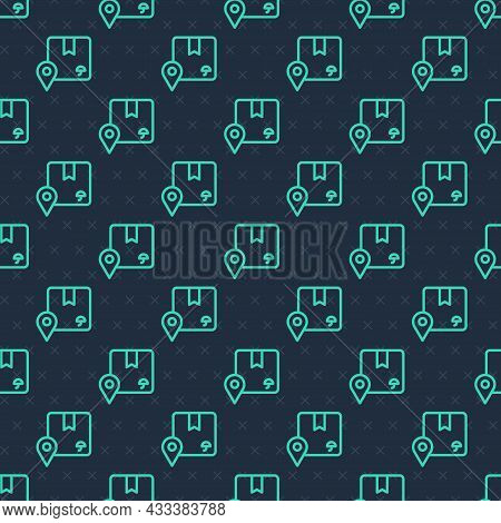Green Line Location With Cardboard Box Icon Isolated Seamless Pattern On Blue Background. Delivery S