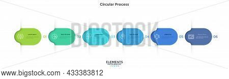 Six Colorful Rounded Elements. Concept Of 6 Successive Steps Of Business Project Development Process