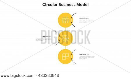Three Circular Elements Placed In Vertical Row And Connected. Concept Of Business Model With 3 Stage