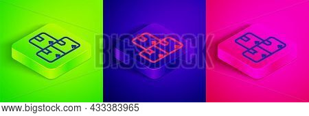 Isometric Line Carton Cardboard Box Icon Isolated On Green, Blue And Pink Background. Box, Package,