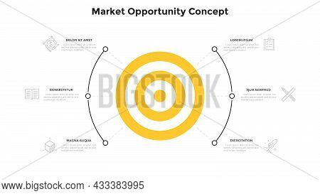 Round Target Chart With 6 Elements. Concept Of Six Market Opportunities Or Stages Of Marketing Strat
