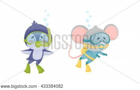 Funny Animal Character Snorkeling And Swimming Underwater In Goggles And Flippers Vector Set. Cute M