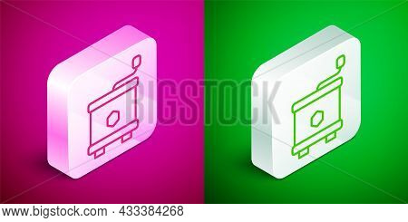 Isometric Line Honey Extractor Icon Isolated On Pink And Green Background. Mechanical Device For Hon