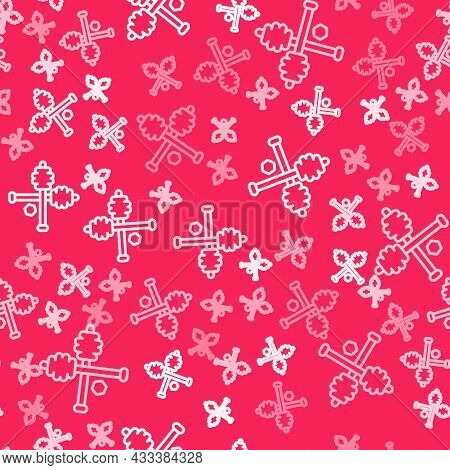 White Line Honey Dipper Stick Icon Isolated Seamless Pattern On Red Background. Honey Ladle. Vector