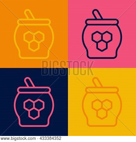 Pop Art Line Jar Of Honey And Honey Dipper Stick Icon Isolated On Color Background. Food Bank. Sweet