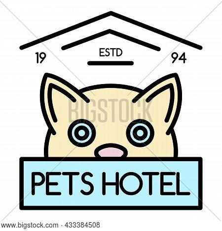 Modern Pet Hotel Logo. Outline Modern Pet Hotel Vector Logo Color Flat Isolated