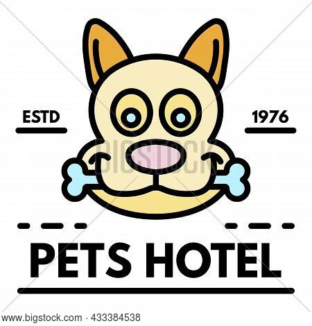 Happy Dog In Pet Hotel Logo. Outline Happy Dog In Pet Hotel Vector Logo Color Flat Isolated
