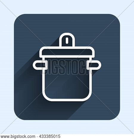 White Line Cooking Pot Icon Isolated With Long Shadow Background. Boil Or Stew Food Symbol. Blue Squ
