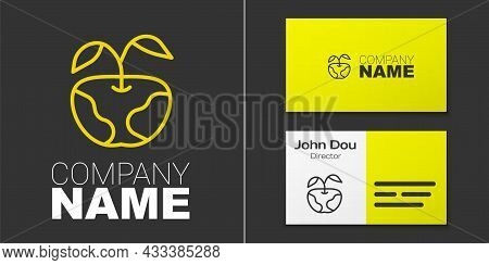 Logotype Line Apple Icon Isolated On Grey Background. Excess Weight. Healthy Diet Menu. Fitness Diet