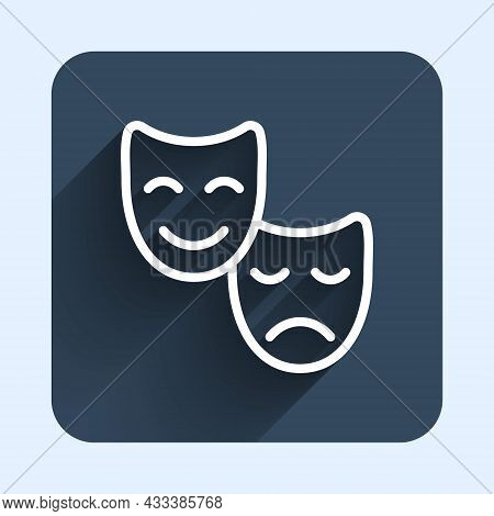 White Line Comedy And Tragedy Theatrical Masks Icon Isolated With Long Shadow Background. Blue Squar