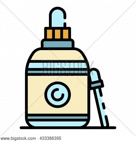 Contact Lens Eye Dropper Icon. Outline Contact Lens Eye Dropper Vector Icon Color Flat Isolated