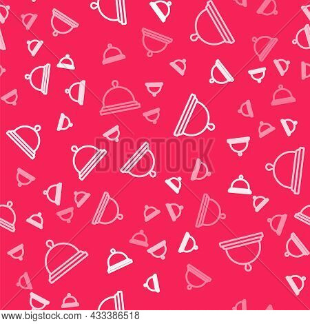 White Line Covered With A Tray Of Food Icon Isolated Seamless Pattern On Red Background. Tray And Li