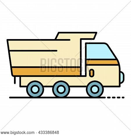 Wheat Farm Truck Icon. Outline Wheat Farm Truck Vector Icon Color Flat Isolated