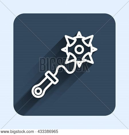 White Line Medieval Chained Mace Ball Icon Isolated With Long Shadow Background. Morgenstern Medieva