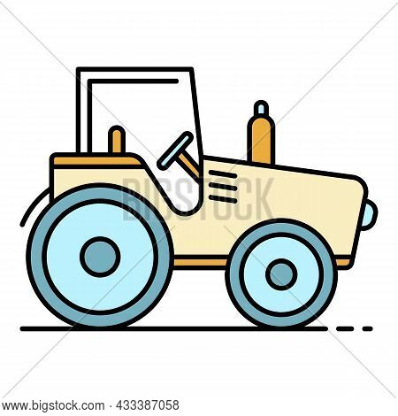 Field Tractor Icon. Outline Field Tractor Vector Icon Color Flat Isolated