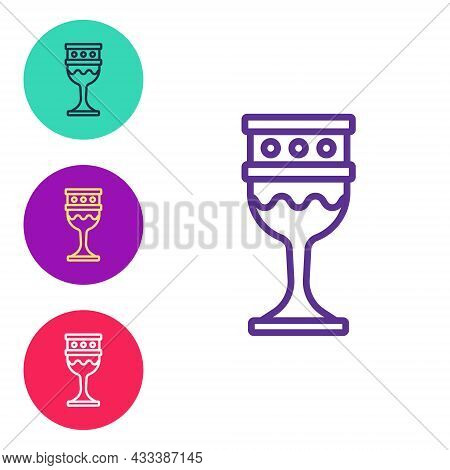 Set Line Medieval Goblet Icon Isolated On White Background. Holy Grail. Set Icons Colorful. Vector