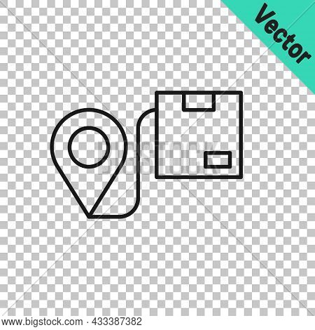 Black Line Location With Cardboard Box Icon Isolated On Transparent Background. Delivery Services, L