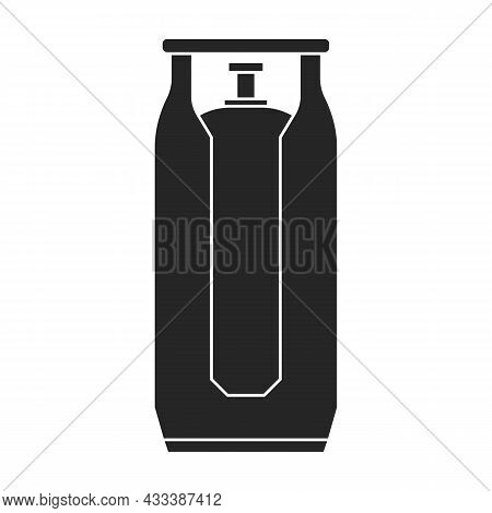 Gas Cylinder Vector Black Icon. Vector Illustration Lpg On Wite Background. Isolated Black Illustrat