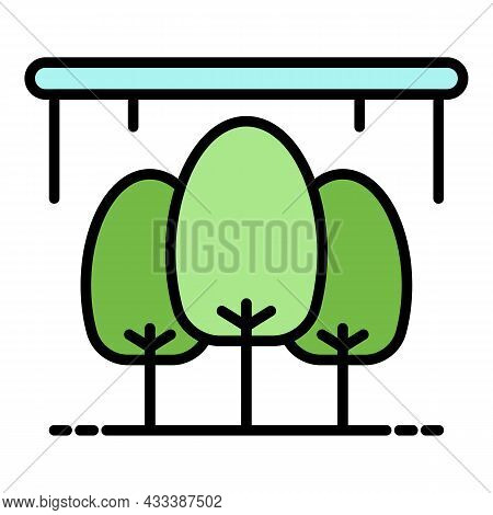 Tree Greenhouse Icon. Outline Tree Greenhouse Vector Icon Color Flat Isolated