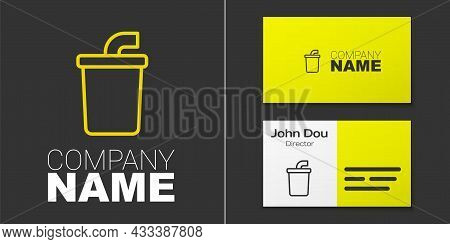 Logotype Line Paper Glass With Drinking Straw And Water Icon Isolated On Grey Background. Soda Drink
