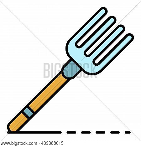 Hand Fork Icon. Outline Hand Fork Vector Icon Color Flat Isolated