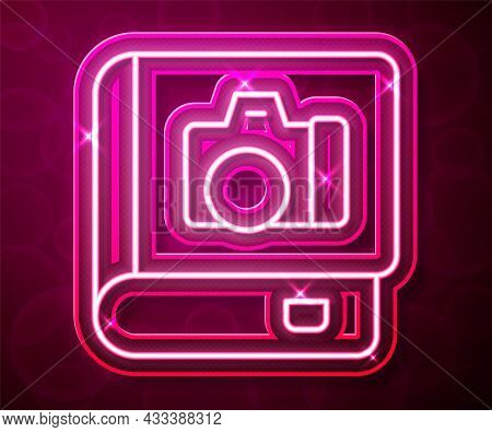Glowing Neon Line Photo Album Gallery Icon Isolated On Red Background. Vector