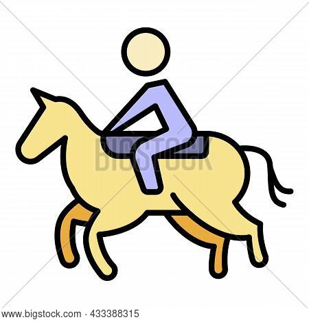 Win Horseback Riding Icon. Outline Win Horseback Riding Vector Icon Color Flat Isolated