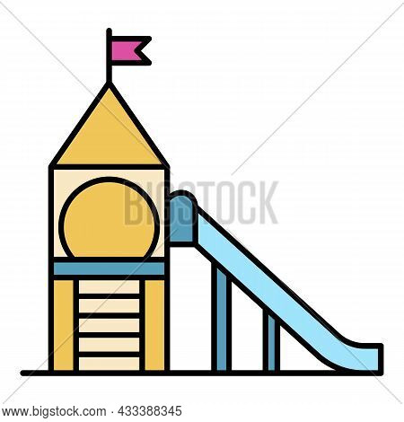 Kid Tower Playground Icon. Outline Kid Tower Playground Vector Icon Color Flat Isolated
