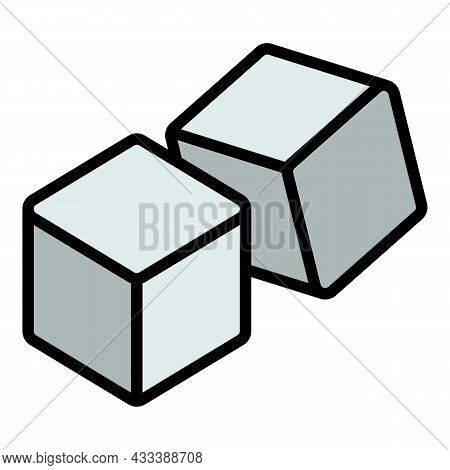 Double Dice Icon. Outline Double Dice Vector Icon Color Flat Isolated