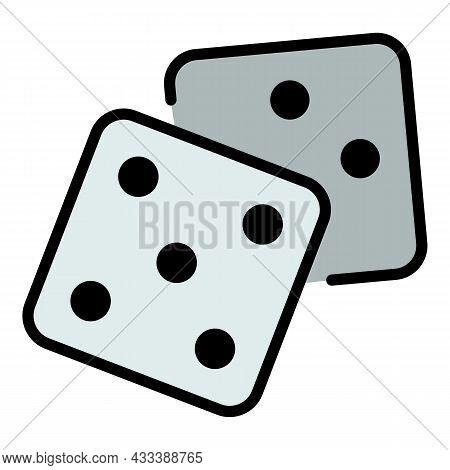 Casino Dice Icon. Outline Casino Dice Vector Icon Color Flat Isolated
