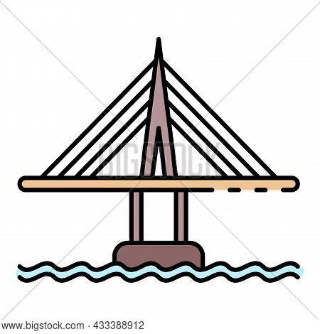 City Bridge Icon. Outline City Bridge Vector Icon Color Flat Isolated