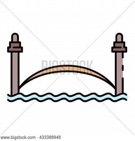 River City Bridge Icon. Outline River City Bridge Vector Icon Color Flat Isolated